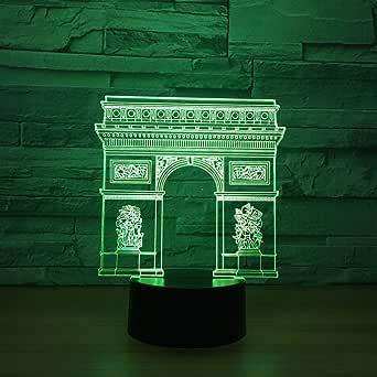 Arc de Triomphe Gate Building LED 3D Night Light Led Colorful Nightlight RGB Lamp Sleeping Lighting Child Kids Toy Gifts