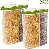 2 recipientes herméticos para cereales, dispensador de alimentos secos, capacidad para aperitivos, tuercas