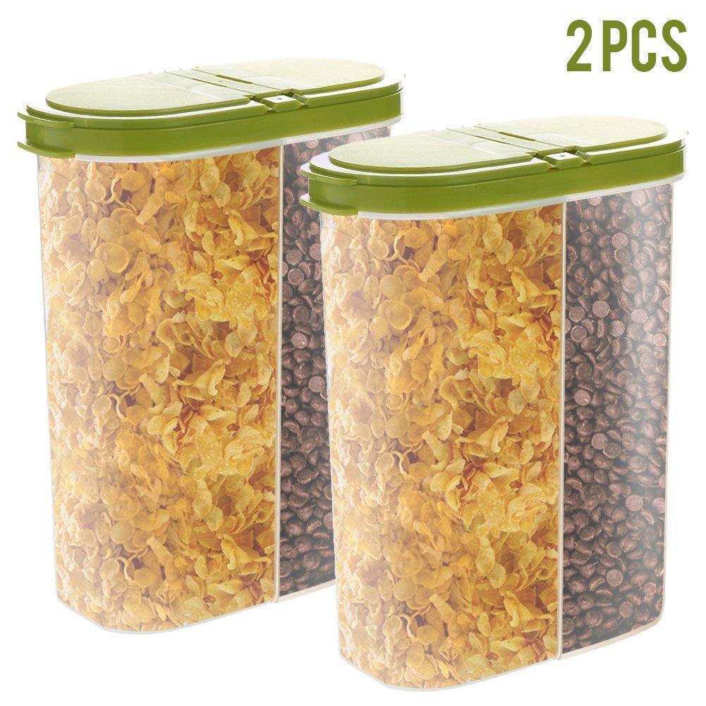 2PCS ermetico, contenitore per cereali Dry food dispenser Storage Keeper 12–510,3gram capacità per snack zucchero farina di dado con Librarsi coperchio Flip Top e grande bocca per versare facilmente–verde No