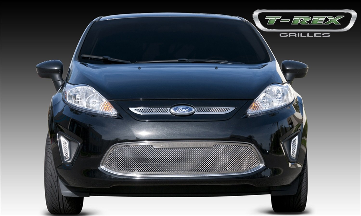TRex Grilles 54588 Upper Class Small Mesh Stainless Polished Finish Grille Overlay for Ford Fiesta