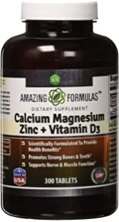 Amazing Formulas Calcium Magnesium Zinc + D3 - 300 Tablets Per Bottle (Calcium 1000mg -