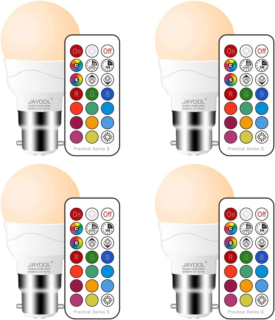 Blanc Chaud 12 RGB Couleurs Lot of 4 Jayool Ampoules /à LED Changement de Couleur Dimmable 3W B22 Ba/ïonnette RGBW Ampoules T/él/écommande Incluse Double m/émoire et Timing