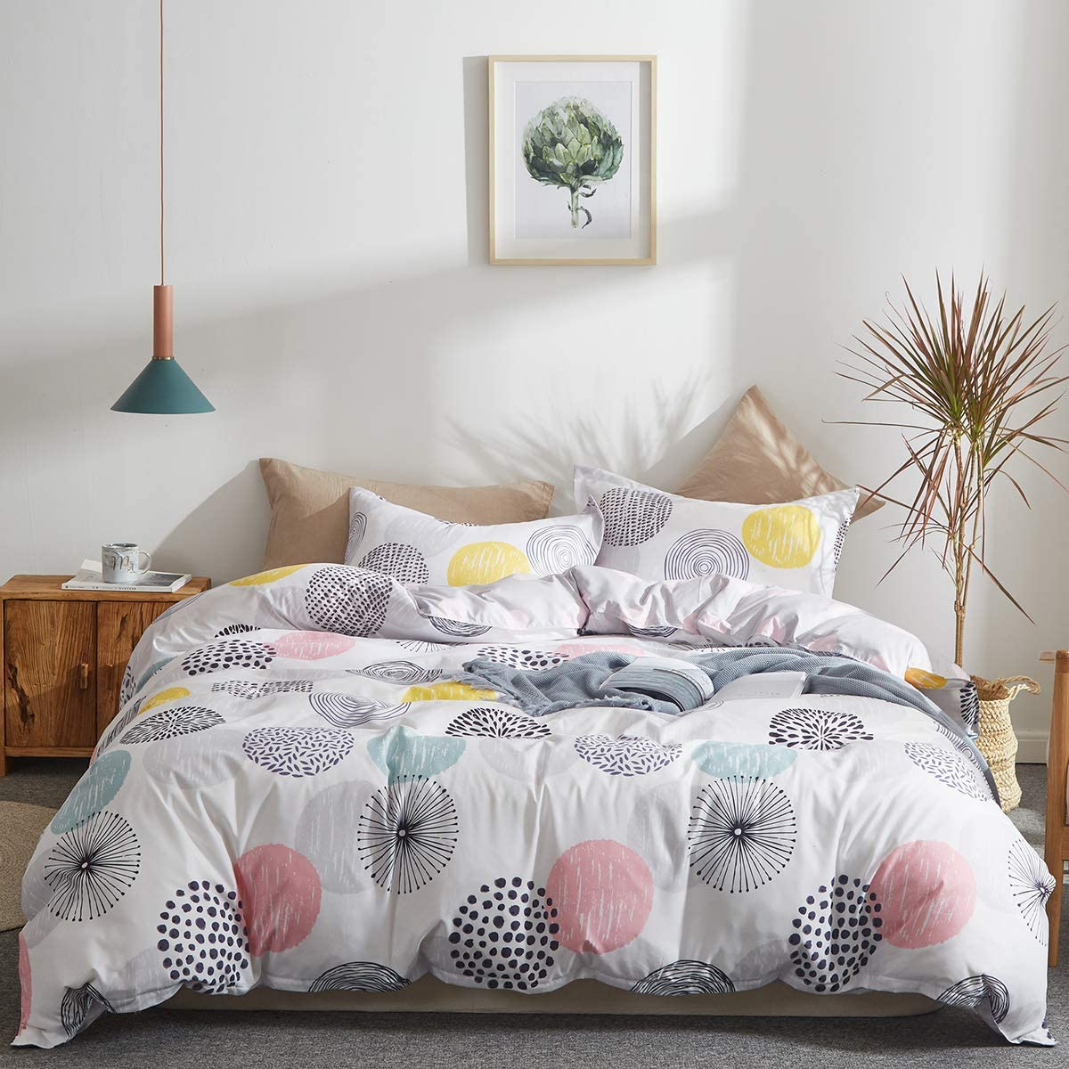 Uozzi Bedding Colorful Dots Comforter Set Queen Size Pink Yellow Gray Blue  Circles Print Reversible Down Alternative 800 TC Adult Duvet Sets 1 ...