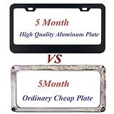 aphqua Black License Plate Frame with Chrome Screw