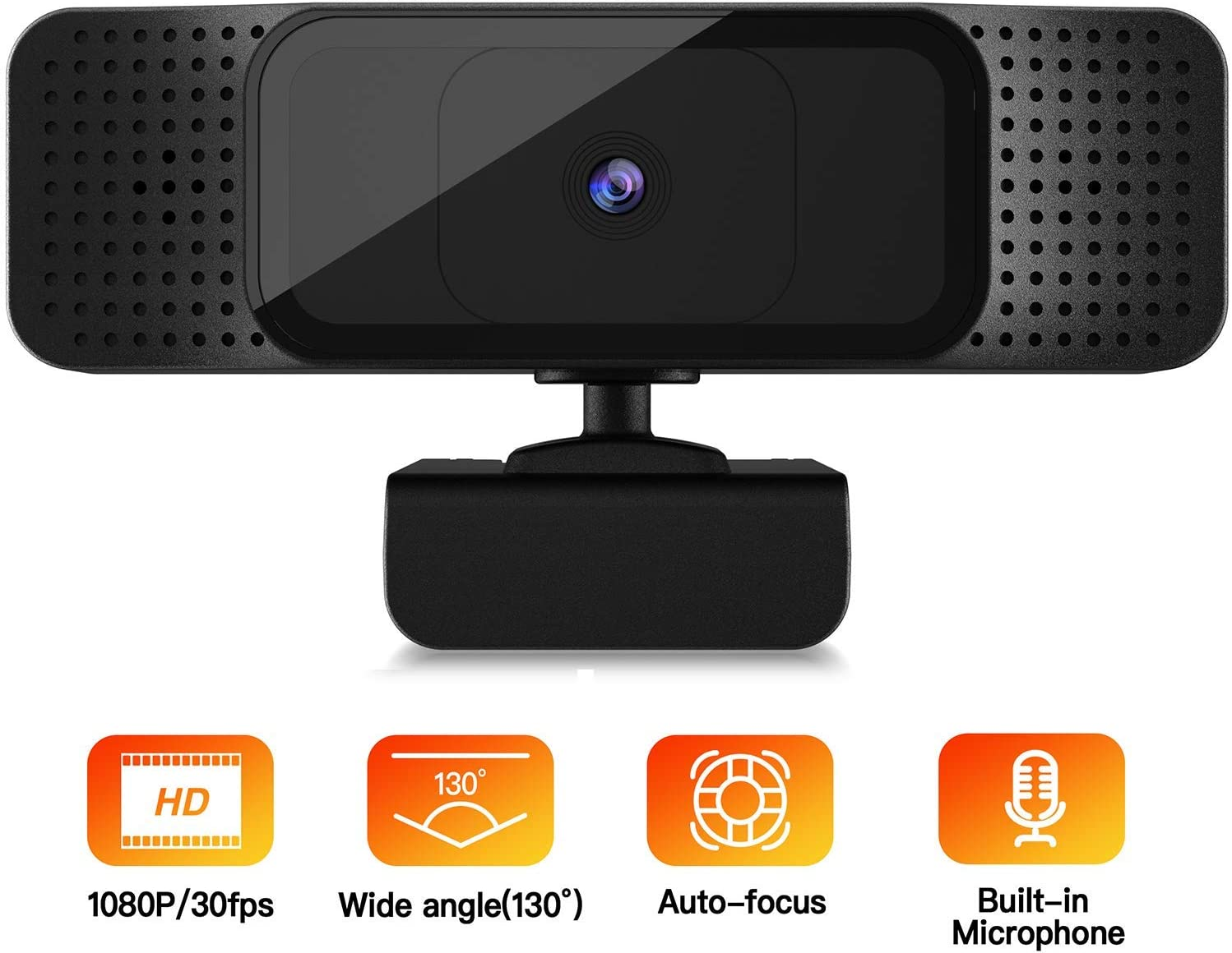 Webcam with Microphone, 1080P HD Webcam with Low Light Correction, Computer Camera Built in Dual Noise Reduction Microphone with Wide View Angel for Desktop Laptop Video Conferencing(M)