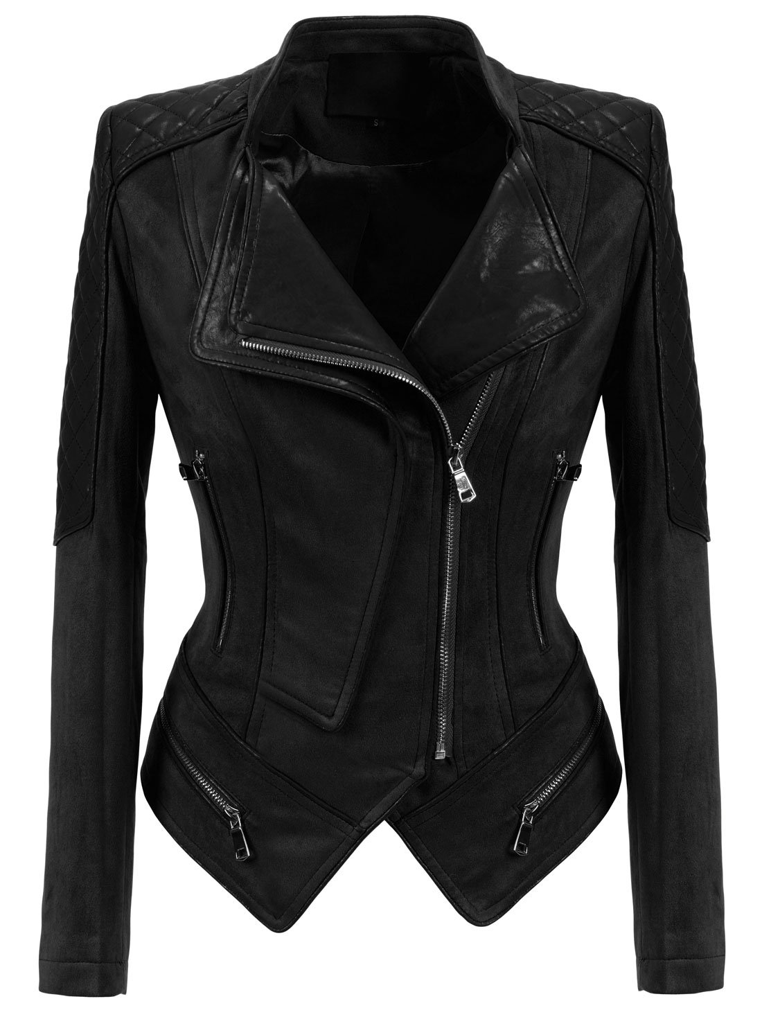 Chouyatou Women's Fashion Perfect Fit Faux Suede-Pu Leather Quilted Biker Jacket (X-Small, Black)