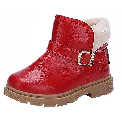 07c9e2a669338 Kvbaby Bottes Bébé Garçon Fille Chaussures Mode Hiver Bottines de Neige  Courtes avec Doublure Chaude Rouge