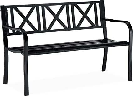 Amazon De Relaxdays Schwarz Gartenbank Aus Metall 2 Sitzer Robust Fur Terrasse Balkon Ruhebank Hxbxt 81 X 127 X 56 Cm Stahl
