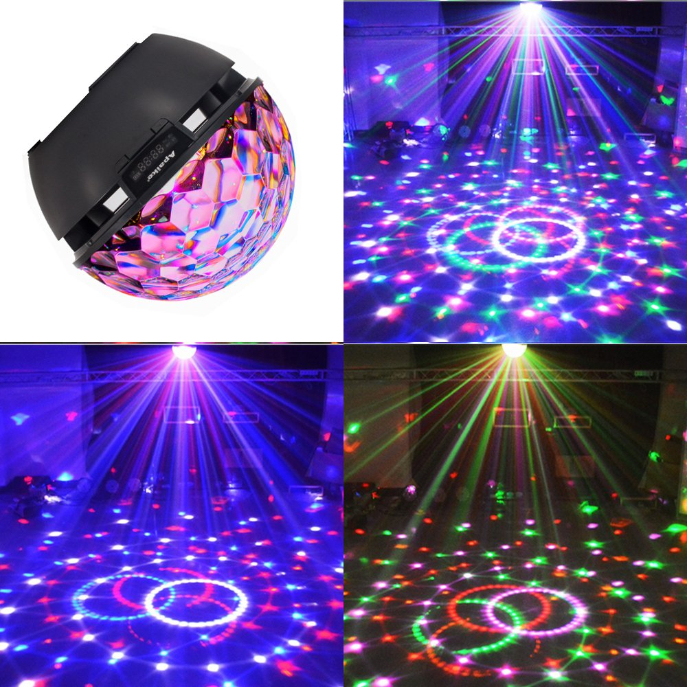 Disco Ball Party Lights Speaker, Strobe Club Lights Effect Magic Mini Led Stage Lights with Wireless Bluetooth Speaker,Suitable for Kids Birthday Gift Toys Home KTV Xmas Wedding Show Pub (Balck)