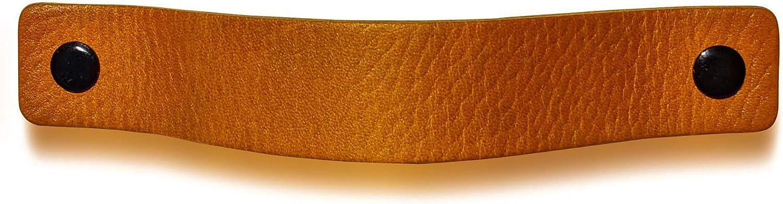caj/ón puerta tiradores para Accesorio de Mobilario 16,5 x 2,5 cm armario Tiradores de Cuero Piel de Granos Amarillo Ocre // 2 piezas 3 tornillos de color
