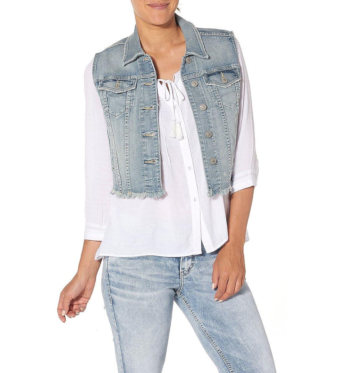 Amazon.com: Silver Jeans Cropped de la mujer Denim Chaleco ...