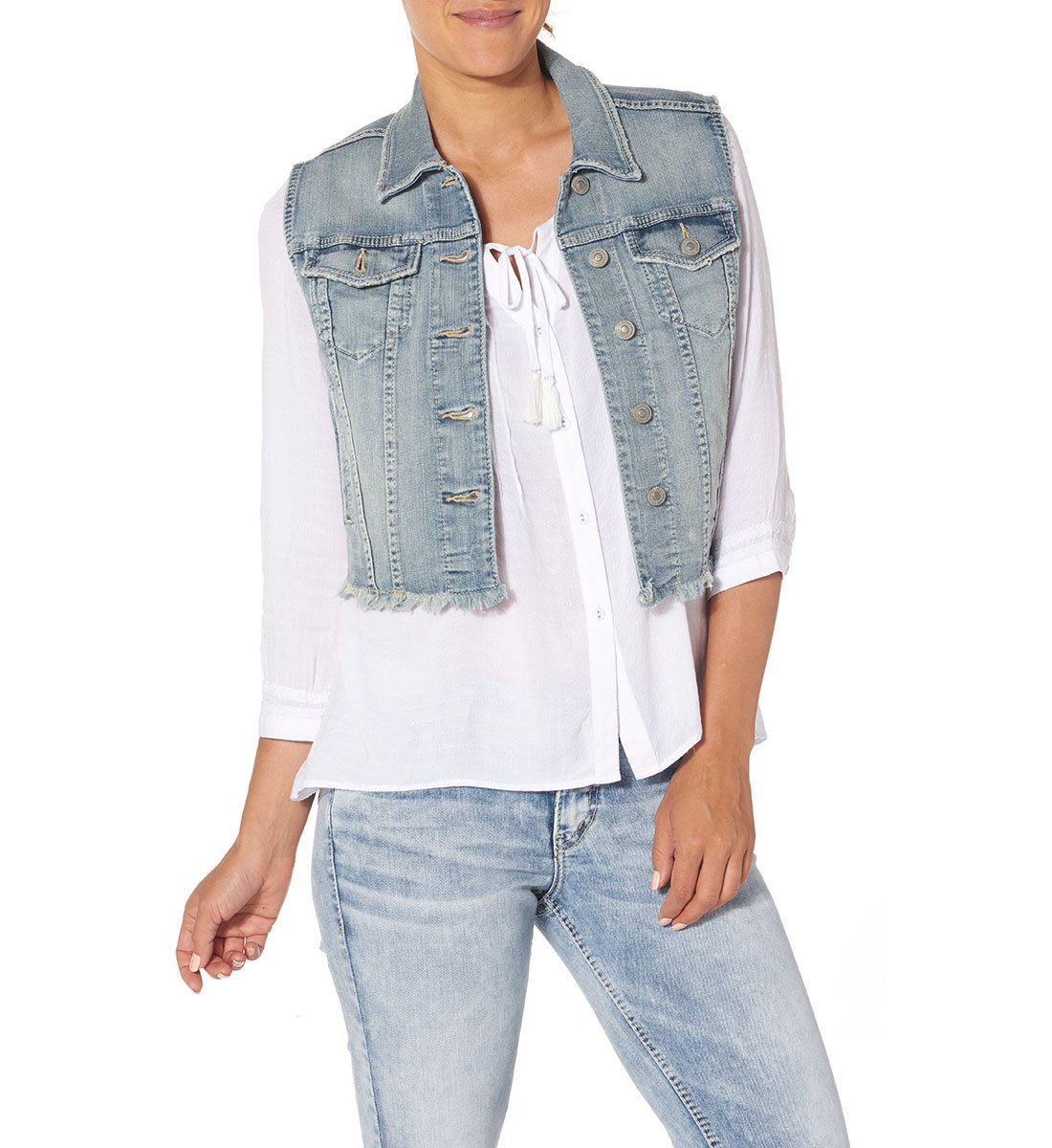 Silver Jeans Women's Cropped Denim Vest with Fray Hem, Indigo, L by Silver Jeans Co. (Image #1)