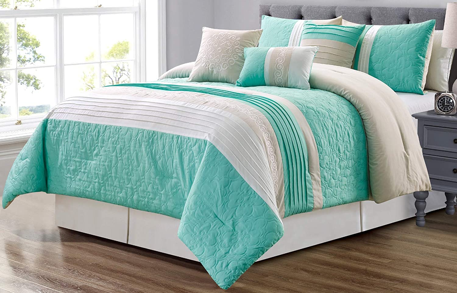 GrandLinen 7 Piece Turquoise Blue/Grey/White Scroll Embroidery Bed in A Bag Microfiber Comforter Set (Double) Full Size Bedding. Perfect for Any Bed Room or Guest Room