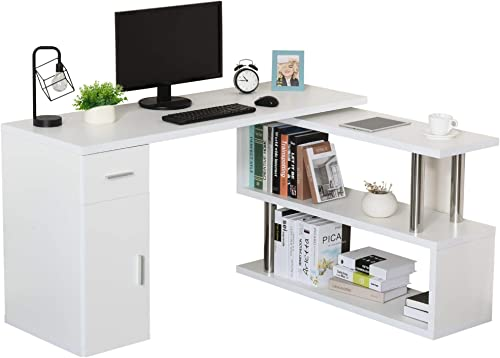 HOMCOM L-Shaped Computer Desk Workstation