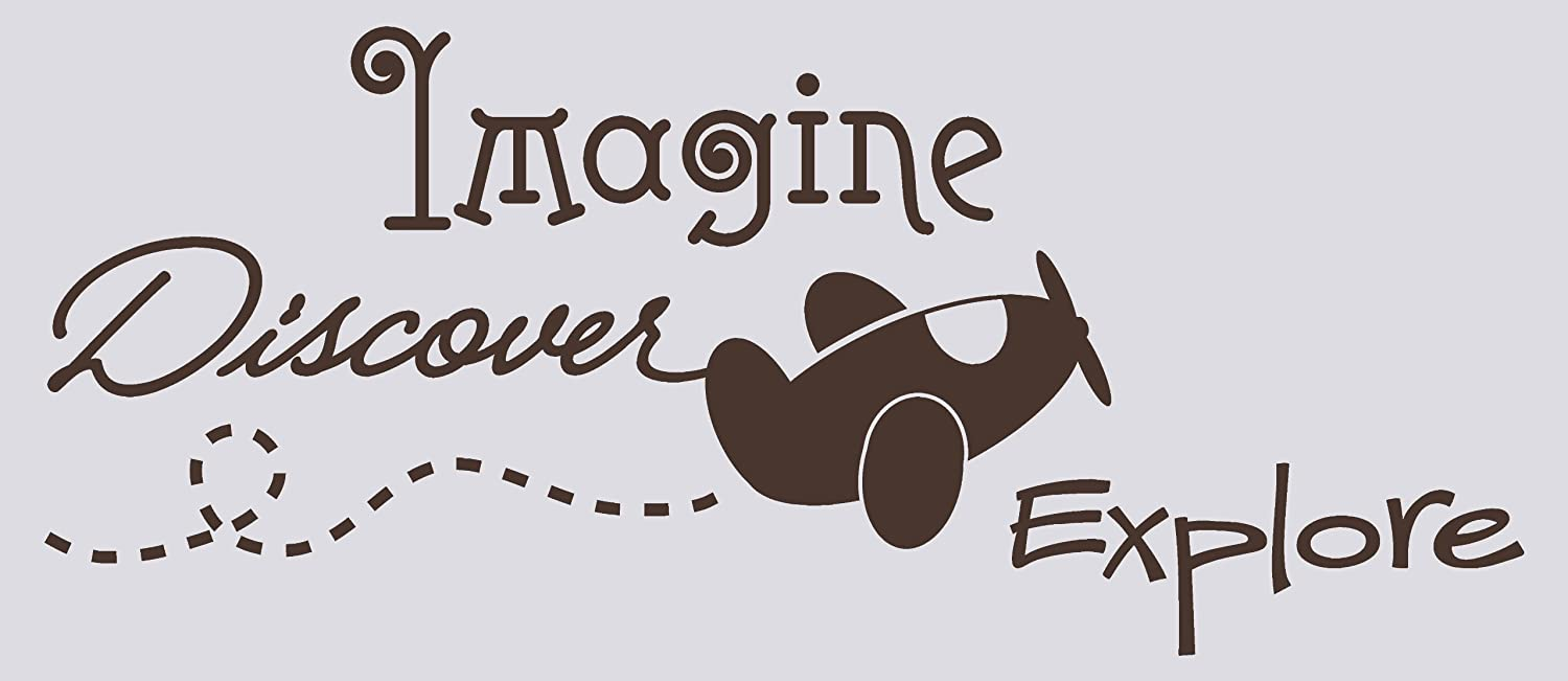 18 W x 42.5 H Chocolate Brown Wall D/écor Plus More WDPM1453 Imagine Discover Explore Wall Vinyl Sticker Quote with Airplane Decal
