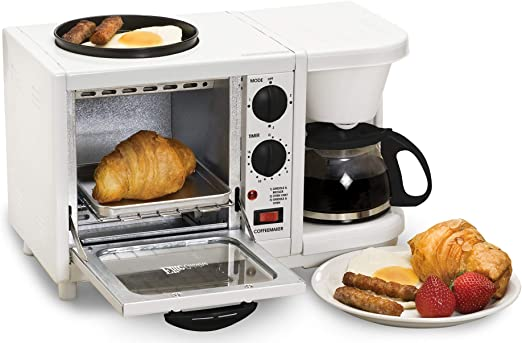 Elite Cuisine EBK-200 Maxi-Matic 3-in-1 Multifunction Breakfast Center, White
