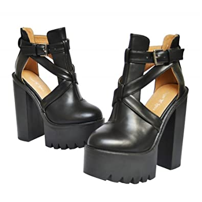 a05fa088dab7 Womens high heel cleated sole boots ladies chunky platform cut out sandals  shoe Black 5