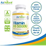 Az Natural Vitamin D3 High Strength IU, Optimum Immune System Booster, Supports Bone Strength, Small Easy to Swallow Vegetarian Tablets - GELATIN FREE Vit d Supplements for Adults, Full Years Supply to Boost Energy and Total Body Wellness.
