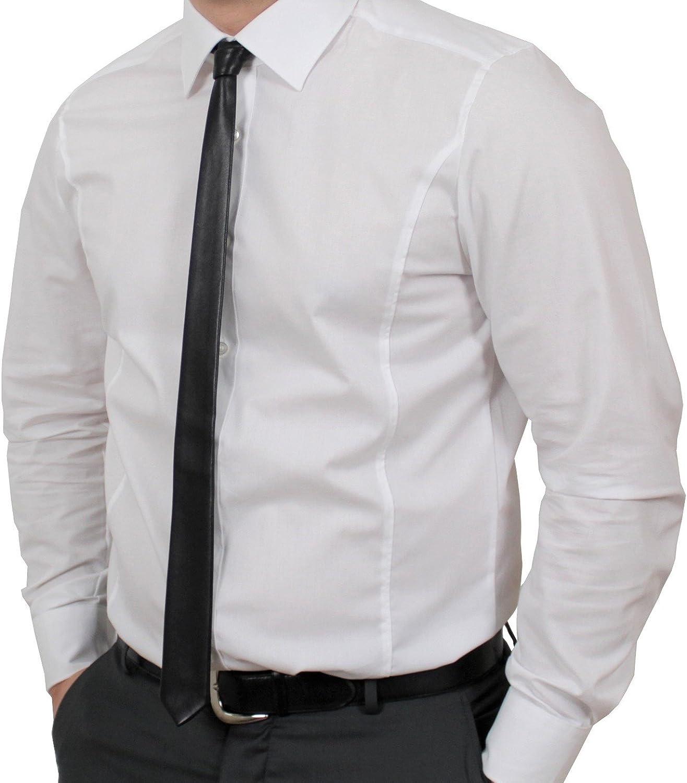 estrecha Adamant 100/% piel aut/éntica Corbata de piel 4,5 cm color negro