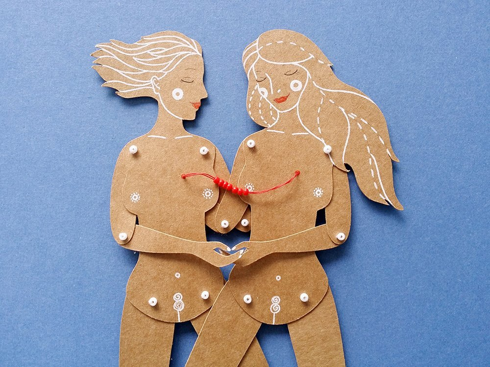 Lovers (girls) articulated gay paper dolls, hand painted couple paper puppets with movable parts, homosexual Valentine's and 1st anniversary gift