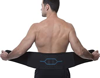 Copper Fit ICE Unisex Adjustable Compression Back Brace Infused with Menthol and Coq10, Black