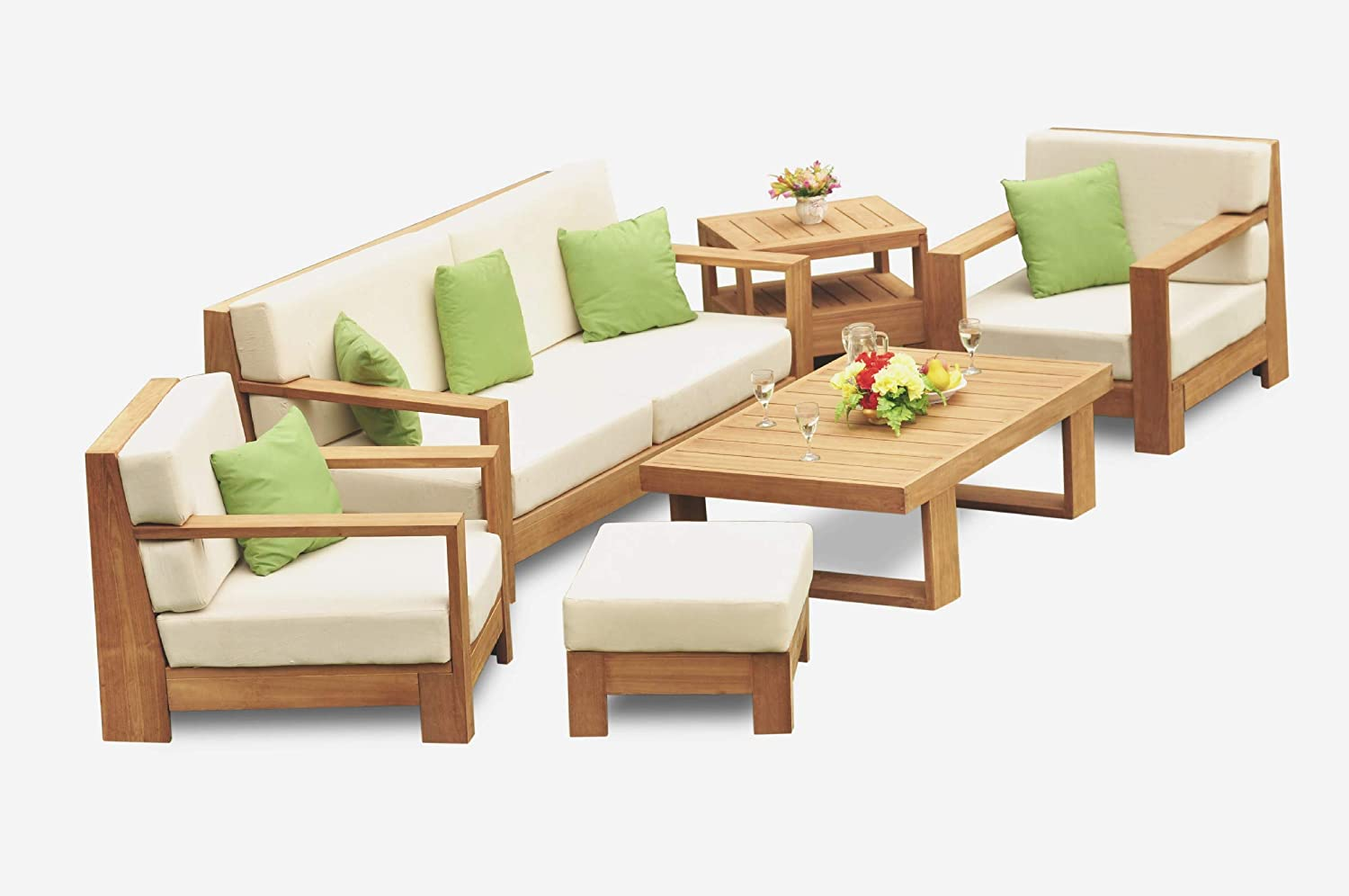 Amazon Com Grade A Teak Wood Canberra 6 Pcs Sofa Set 1 Sofa 3 Seater 2 Lounge Chairs 1 Ottoman 1 Coffee Table 1 Side Table Furniture Only 12cn6 Garden Outdoor