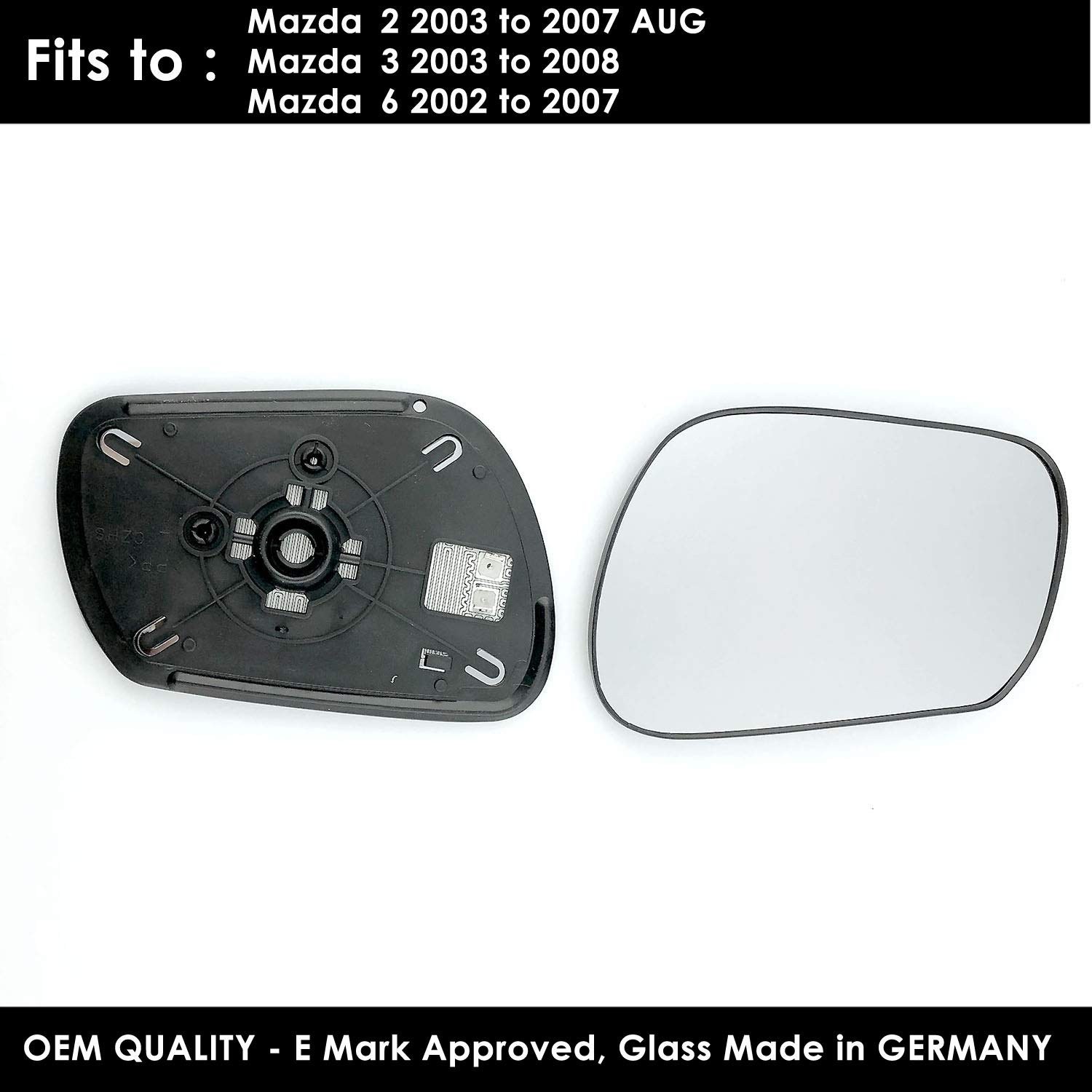 FOFiesta 2001 to 2008 Heated Silver Door Mirror Glass Including Base Plate LH Passenger Side