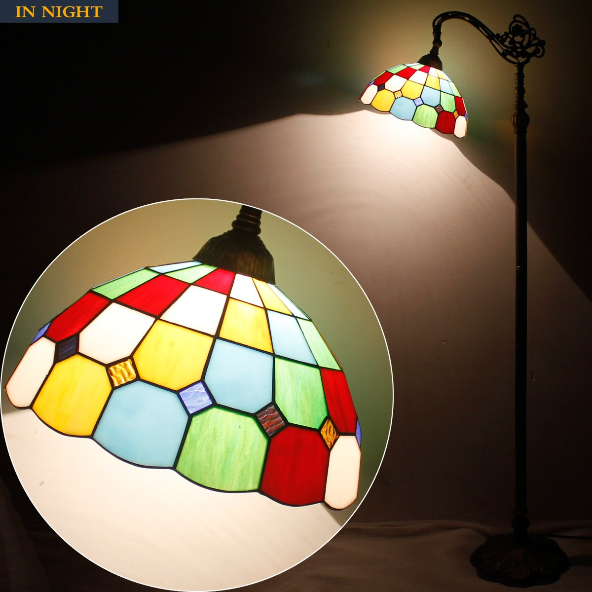 Tiffany Style Reading Floor Lamp Table Desk Lighting Tartan Design W12H64 E26 by werfactory (Image #3)