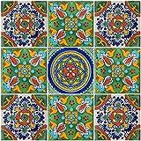 """Color y Tradicion 9 Mexican Tiles 4""""x 4"""" Hand Painted Talavera F-10"""