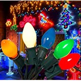 SkrLights 25Ft Christmas Lights C7 Ceramic Vintage Multicolor Lights with 27 Colorful Incandescent Bulbs (2 Spare…