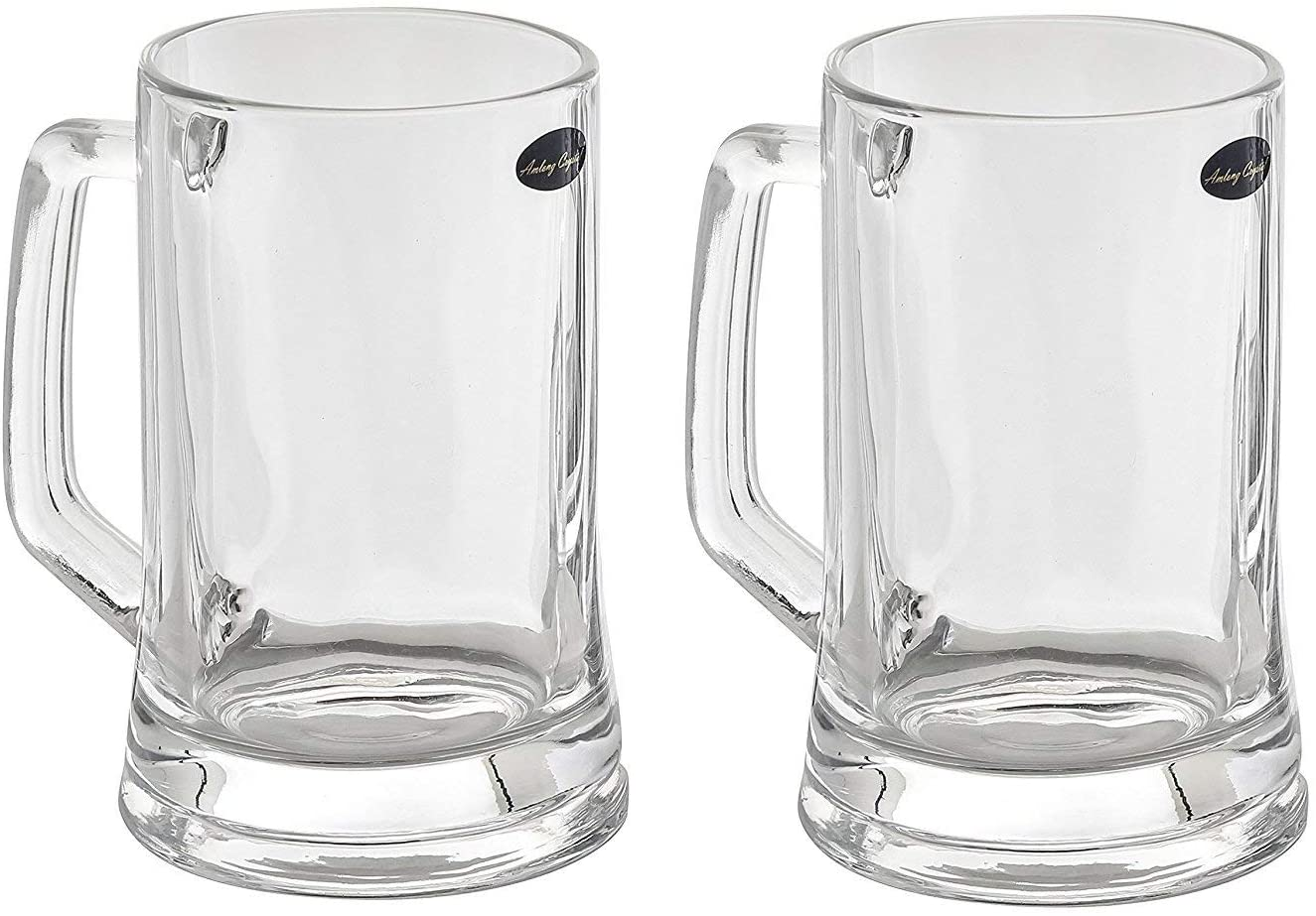Amlong Crystal Lead-Free Beer Mug - 12 oz (Right For 1 Bottle), Set of 2