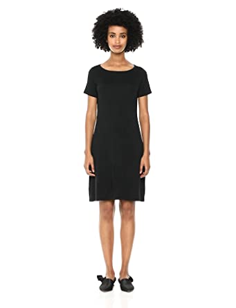 d34cb7e9523b Daily Ritual Women's Jersey Short-Sleeve Bateau-Neck T-Shirt Dress, Black