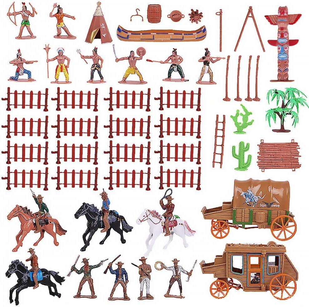 FEEE-ZC 1 Juego de Figuras de plástico de Indio y Vaquero con Tienda de Caballos Totem Wild West Cowboy Kit en Miniatura Ideal para niños como Proyecto Escolar