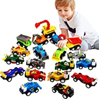 Pull Back Car, 20 Pcs Assorted Mini Truck Toy and Race Car Toy Kit Set, Funcorn Toys Play Construction Vehicle Playset…