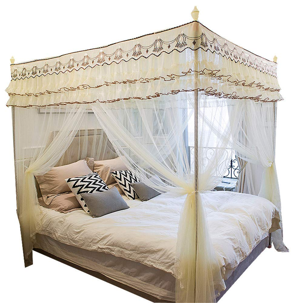 Floor-Mounted Mosquito net Double Bed 1.8M Home Insect-Proof Gauze Children Single encryption Thickened Mosquito net 1.5 m, Yellow, 2.0M