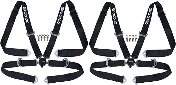 Pair Spocoro SB-0204RD-BK-2 4 Point Racing Safety Harness Buckle,2 Straps,Red