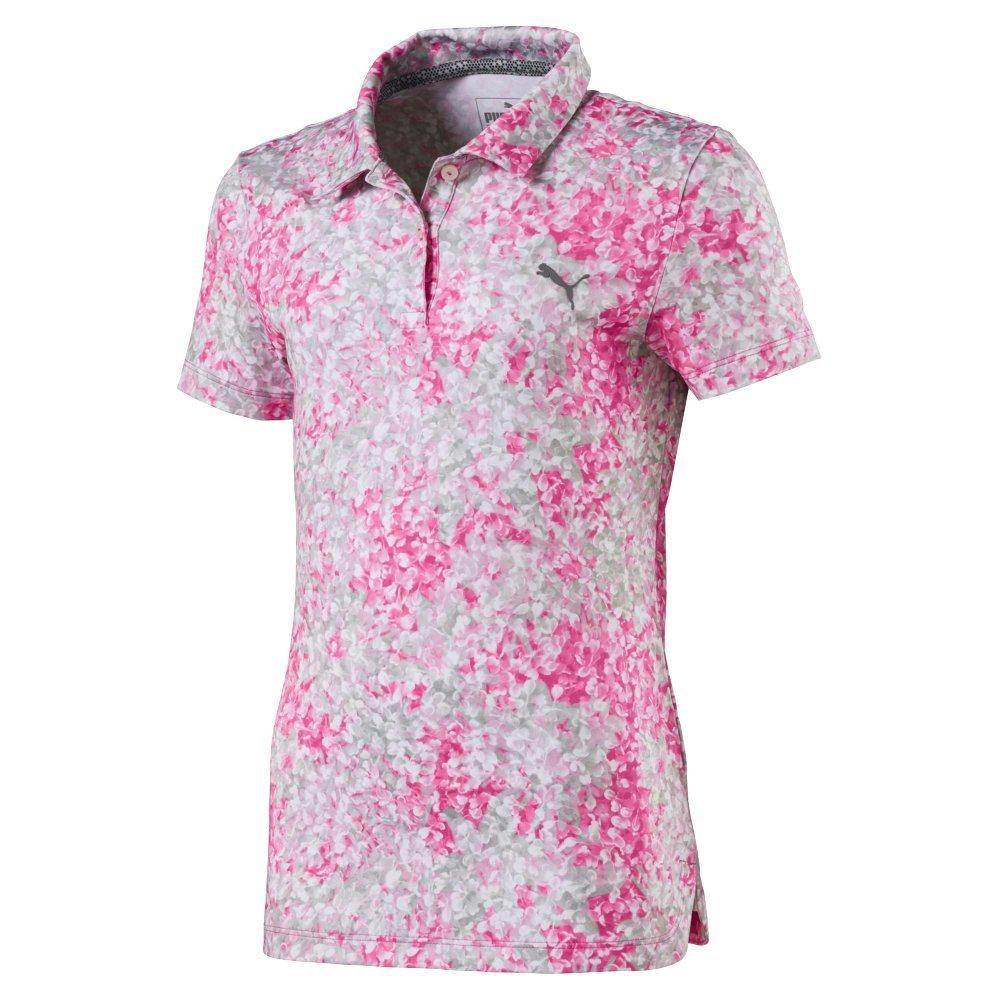 Puma Golf Girl's 2018 Floral Polo, X-Small, Carmine Rose