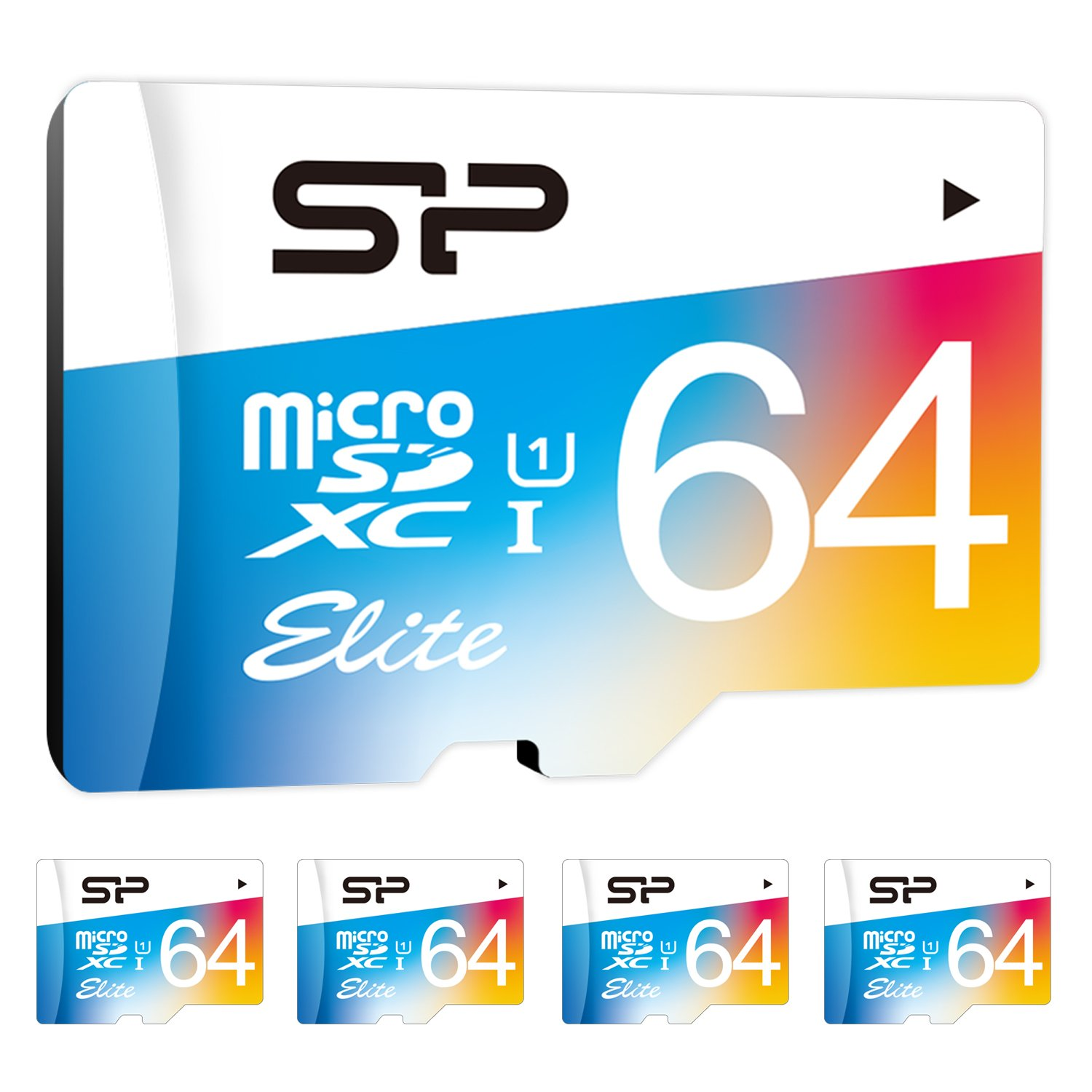 Silicon Power 64GB x 5 PACK MicroSDXC UHS-1 Memory Card, with Adapter (SP064GBSTXBU1V20AB)