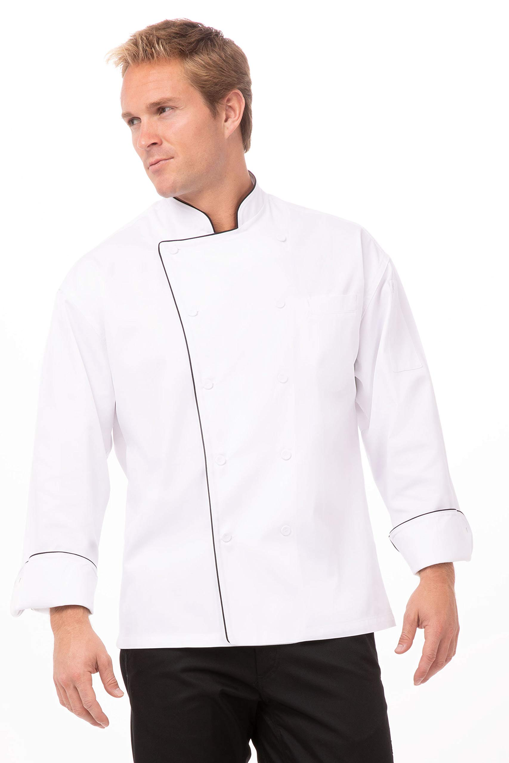 Chef Works Men's Sicily Executive Chef Coat, White, Large by Chef Works
