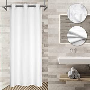 Modern Hotel Grade No Hooks Needed Shower Curtain with Snap in Liner,White Spa Like Stall Size,36W x 74L