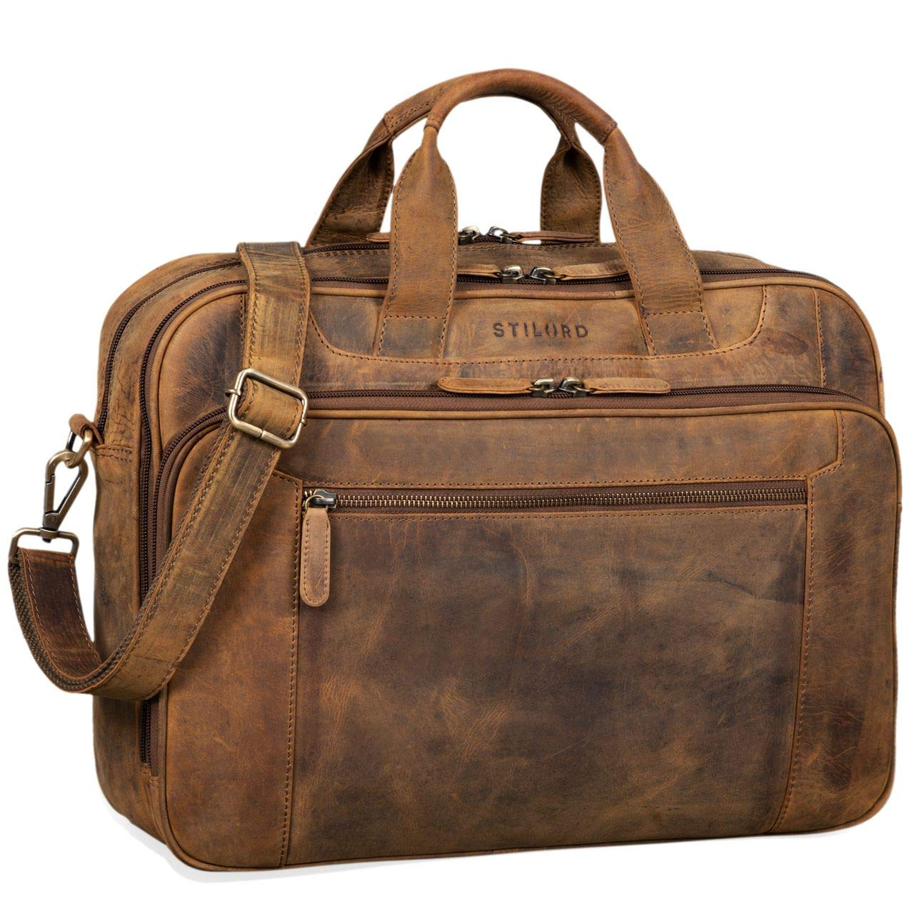 STILORD 'Nelson' Businesstasche Herren Leder 15,6 Zoll Laptoptasche Groß Aktentasche Umhängetasche aus Vintage Rindsleder, Farbe:dunkel - braun