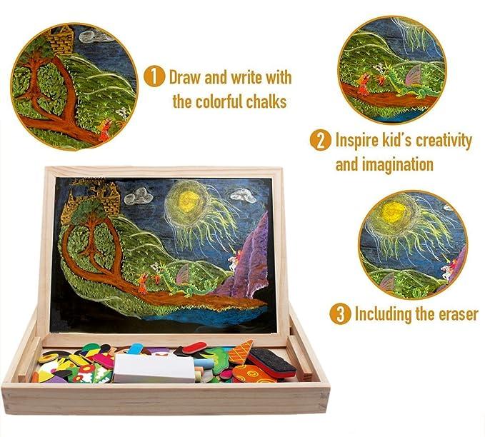 FiveJoy Puzzles Rompecabezas Magnéticos de Madera Juguete Educativo Tablero de Dibujo de Doble Cara para Niños Niña 3 Años 4 Años 5 Años - Acerca de ...