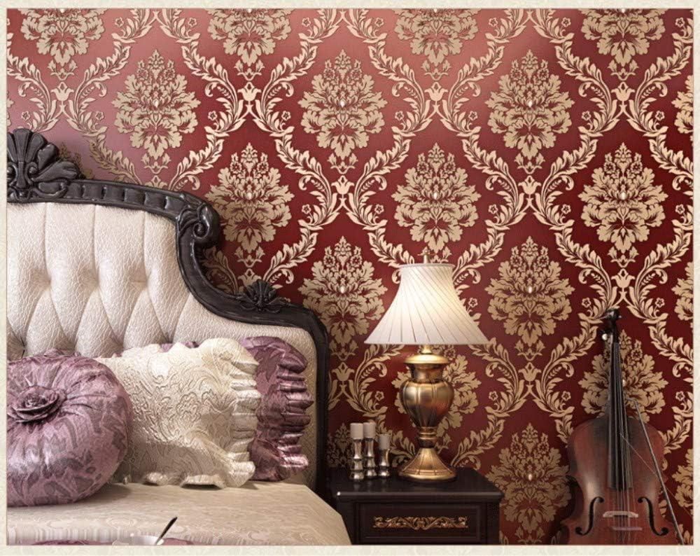 Wallpaper Papel Pintado Rojo de Damasco para la decoraci/ón de TV Tel/ón de Fondo y Dormitorio Hotel 0.53x10m