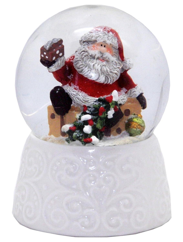 20086 Minium Collection Snow globe Santa white porcelain base 65mm diameter Schneekugelhaus