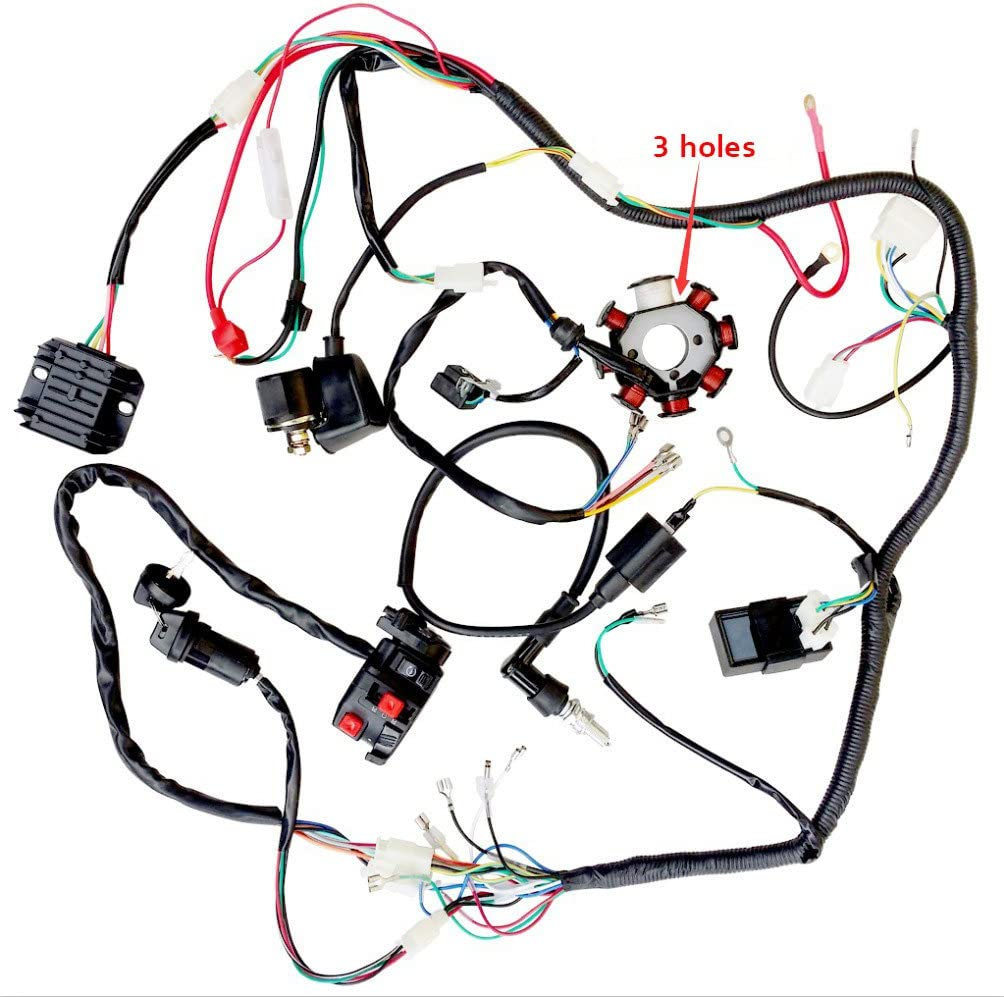 wiring harness kit for atv amazon com complete wiring harness kit wire loom electrics stator  complete wiring harness kit wire loom