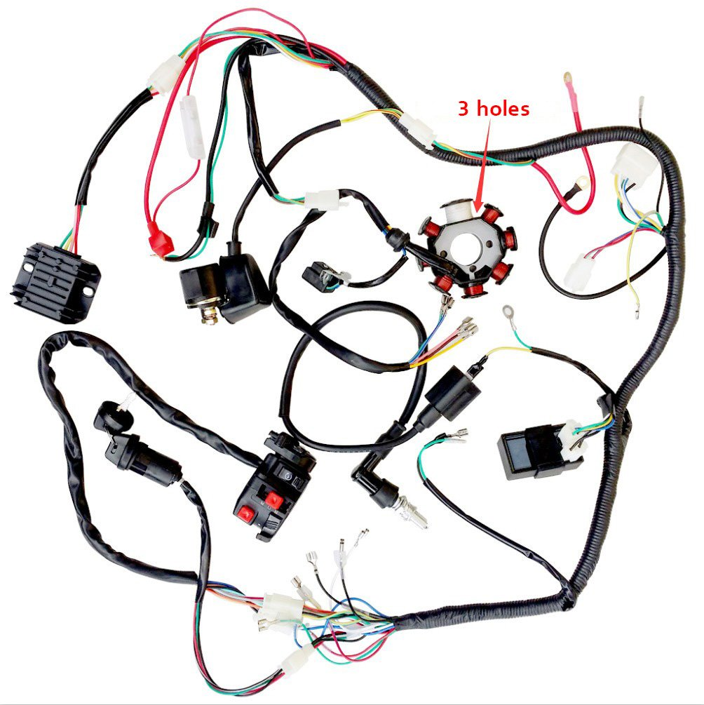 Complete Wiring Harness Kit Wire Loom Electrics Stator Yerf Dog Gy6 Diagram Coil Cdi For 150cc 300cc Atv Quad 4 Four Wheelers Go Kart Dirt Pit Bikes 3 Fixing