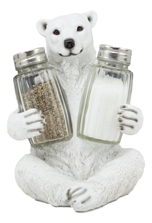 Ebros Arctic Ice Polar Bear Salt And Pepper Shakers Holder Statue 6.25''Tall Circumpolar North Ursus Maritimus Animal Taxidermy by Ebros Gift
