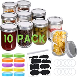 10 Pcs Mason Jars 8 Oz, Regular Mouth Canning Jars with Airtight Lids and Bands, Colored Plastic Lids, Blank Labels, Chalk Marker, Leak-Proof Lids for Food Storage, Canning, Favors, Decorating Jar