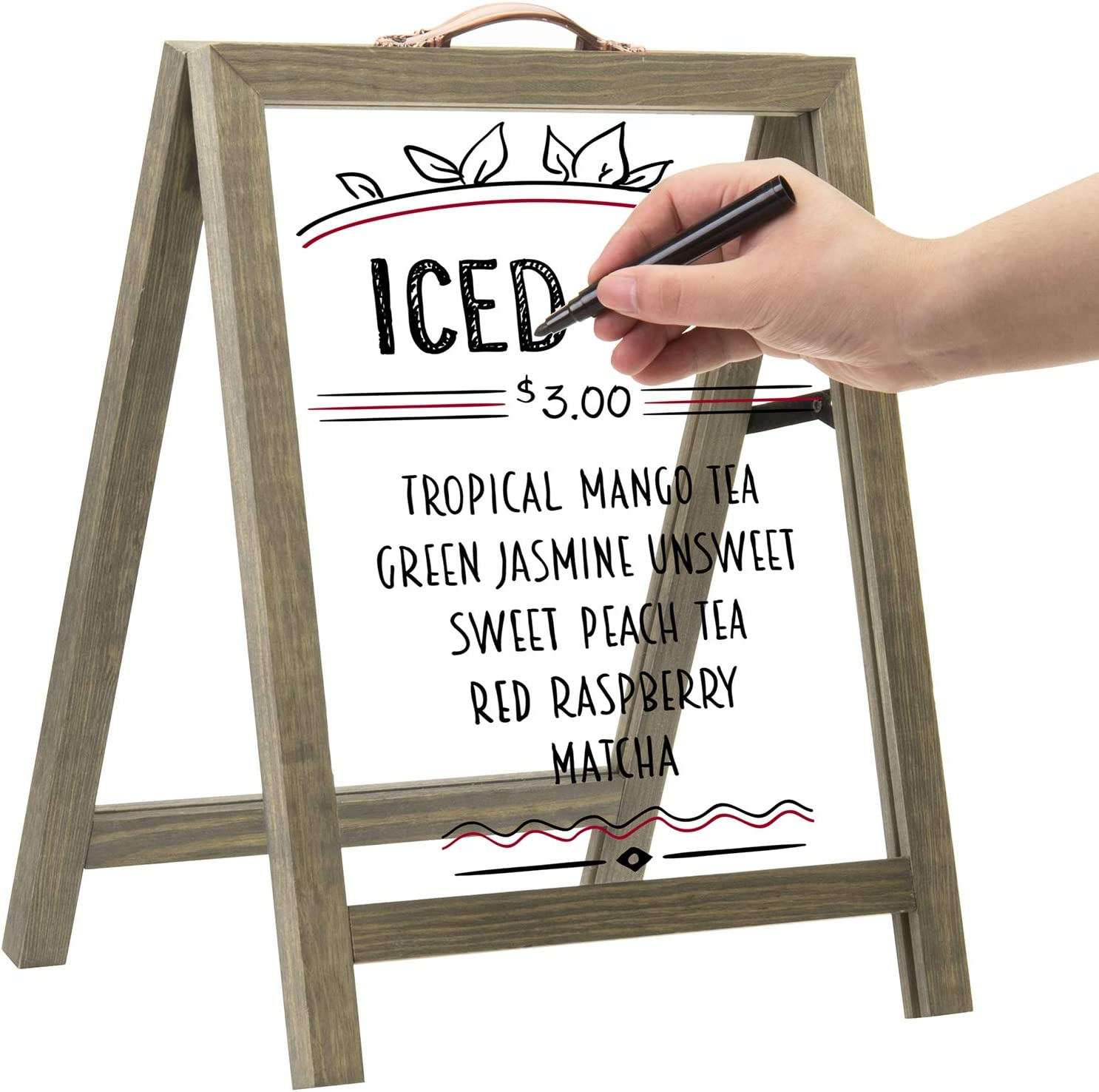MyGift Clear Acrylic & Vintage Gray Wood Tabletop A-Frame Decorative Display Message Board
