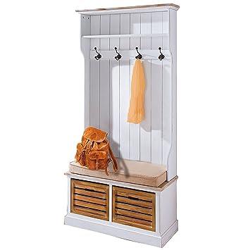 Amazon De Flur Garderobe Landhaus Mit Sitzbank Garderobenschrank